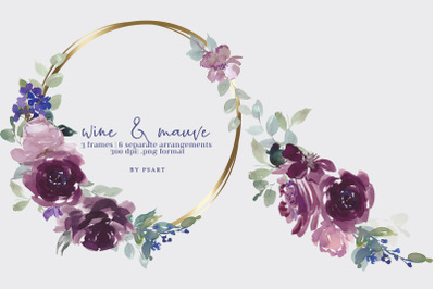 Watercolor Purple Floral Frame Collection
