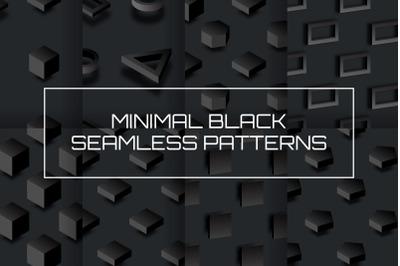 Minimal 3D Black Seamless Patterns Set