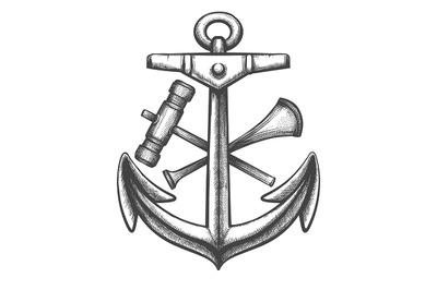Anchor and shipyard Tools Sailor Tattoo