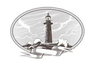 Lighthouse Engraving Emblem Illustration