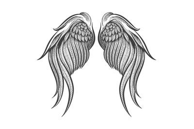 Hand Drawn Wings Tattoo