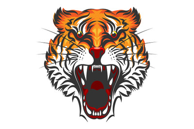 Angry Tiger Face Illustration