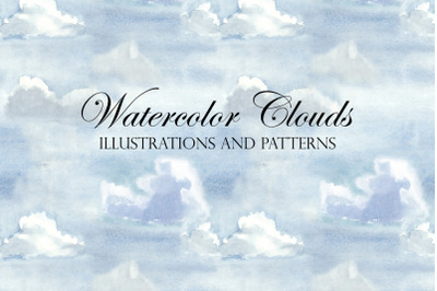 Watercolor Sky and Clouds. Patterns, Illustrations, Cliparts