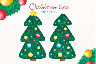 Watercolor Christmas tree clipart with decorations