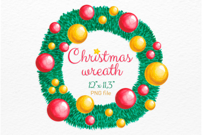 Watercolor Christmas wreath Holiday decor clipart