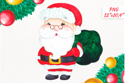 Watercolor Santa Claus Christmas clipart