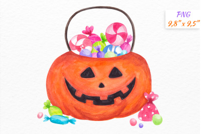 Halloween Trick or treat bag Pumpkin Watercolor clipart