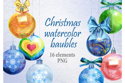 Watercolor Christmas baubles clipart
