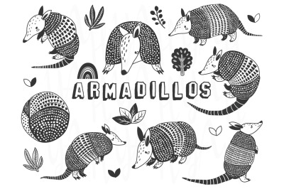 Cute Armadillos Silhouette Sets