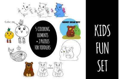 Coloring pages plus puzzles for kids 5 in 1 set