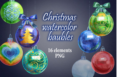 Watercolor Christmas ball clipart