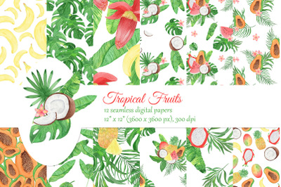 Watercolor tropical fruits digital papers. Palm leaves seamless patter
