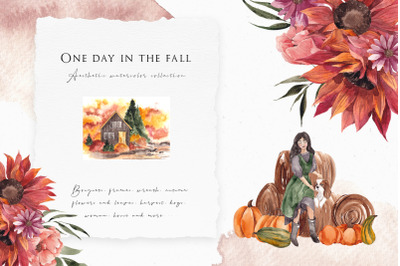 One day in the Fall. Aesthetic watercolor collection