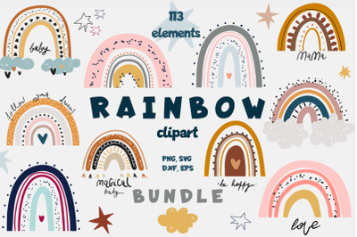 Rainbow Bundle | Clipart PNG SVG VECTOR