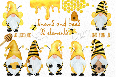 Gnomes and bees clipart,Honeybee clipart,Bumble Bee Gnomes