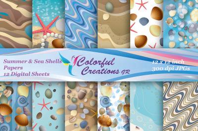 Sea Shells Digital Papers, Summer Digital Papers, Starfish Papers, Sea