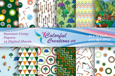 Summer Camp Digital Papers, Summer Digital Papers, Camp Papers, Chevro