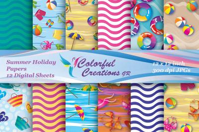 Summer Holiday Digital Papers, Summer, Beach, Beach Umbrellas, Swimsui