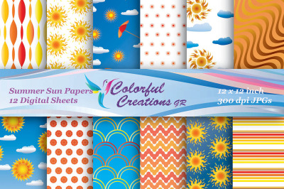 Summer Sun Digital Papers, Summer Papers, Sun Digital Papers, Stripes,