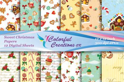 Christmas Digital Papers, Gingerbread Cookies Digital Papers, Christma