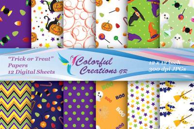 Halloween Digital Papers, Pumpkins, Trick or Treat , Bats, Ghosts, Hal