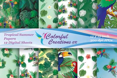 Tropical Summer Digital Papers, Summer Digital Papers, Tropical Papers