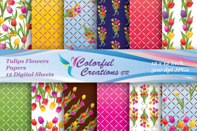 Tulips Set Digital Papers, Floral Pattern, Plaid Patern, Scrapbook Pap