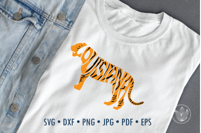 Louisiana in tiger shape Word Art, Svg Dxf Eps Png Jpg, T-shirt Typogr