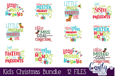 Kid's Christmas Bundle Svg, Funny Christmas Cut File