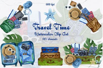 Travel Time Watercolor Clip Art 600dpi