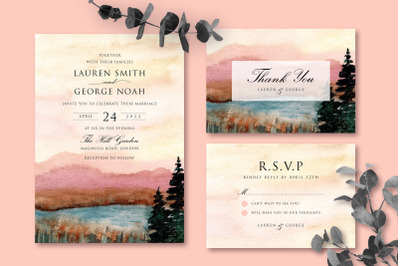 Dreamy Lake Wedding Invitation