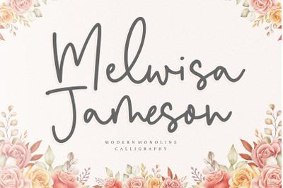 Melwisa Jameson Modern Monoline Calligraphy Font