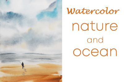 watercolor nature and landscape with ocean and sky and human