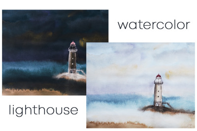 watercolor nature and landscape. Ocean with lighthouse