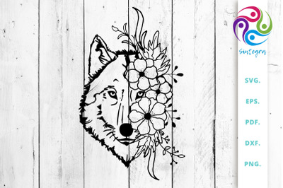 Wolf with Flowers Svg Cut Files