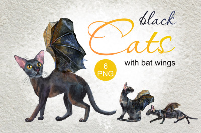 Watercolor black cats with bat wings