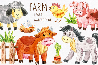 Domestic animals watercolor clipart. JPEG PNG