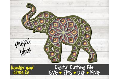 Elephant 3D Layered Mandala SVG - DXF - EPS - PNG