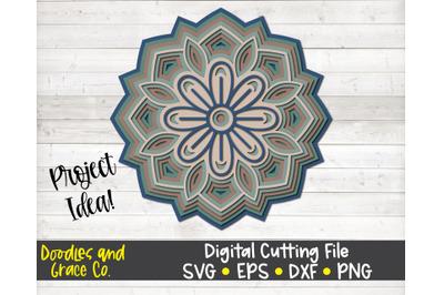 Flower 3D Layered Mandala SVG