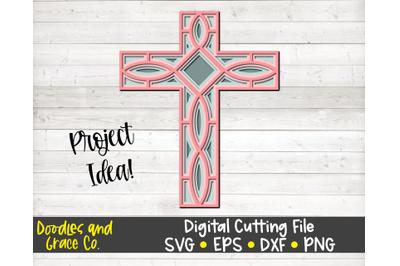 Cross 3D Layered Mandala SVG