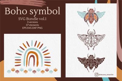 Tribal Boho symbol SVG bundle vol 1, Doodle Boho elements