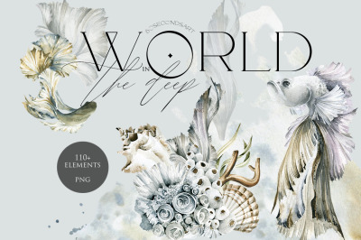 World in the deep. Watercolor collection