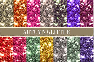 Autumn glitter digital paper, autumn glitter, chunky glitter