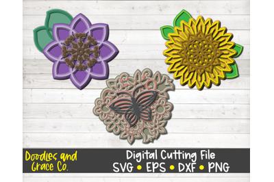 Flower 3D Layered Mandala SVG Bundle