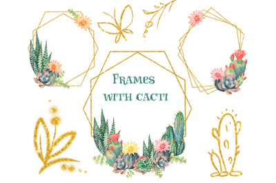 Floral frames with cacti. Watercolor flowers cacti frames for cards