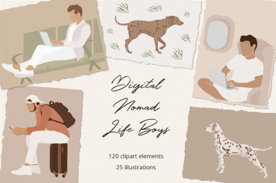 Digital Nomad Life Boys Illustration Set