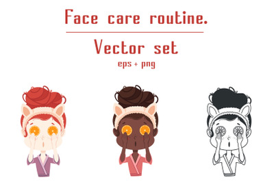 Face care routine. Vector set