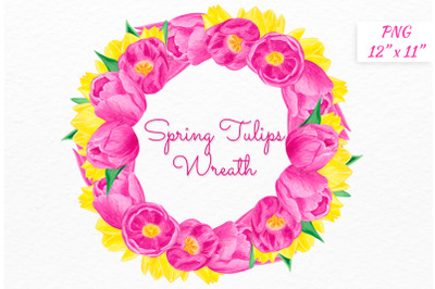 Watercolor Tulip wreath Pink yellow flowers wreath