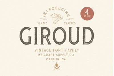 Giroud Vintage Font Family + Bonus