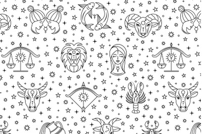 Pattern with zodiac signs and stars